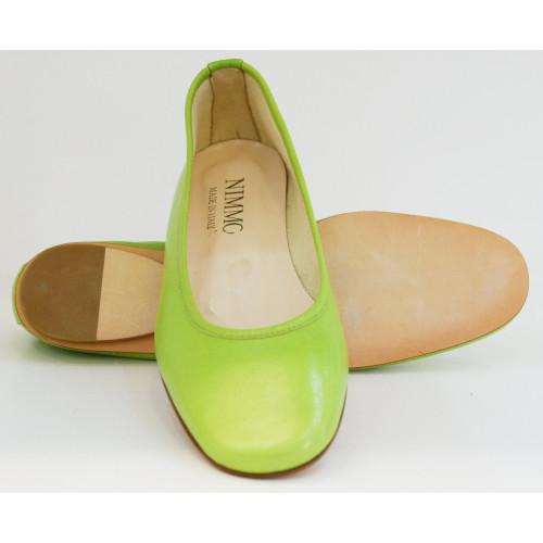 Green Square Toe  Leather Ballerina Image