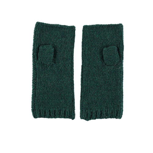 Cashmere Blend Fingerless Gloves in Forest Green Image
