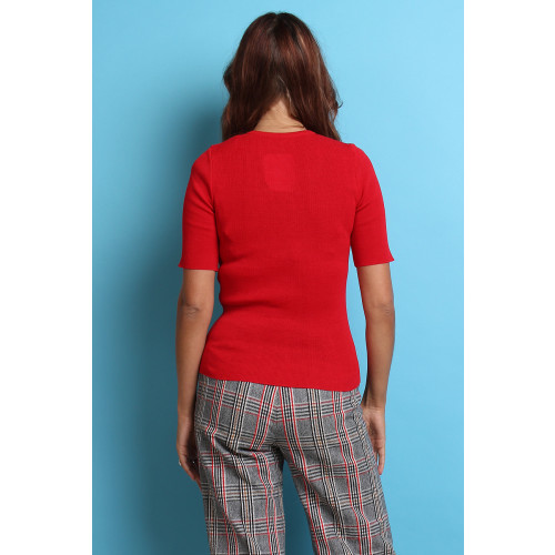 60s 70s Vintage Red Knit Top Image