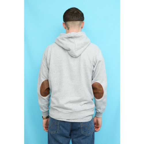 Army Grey Elbow Patch Hoodie Sweatshirt Image