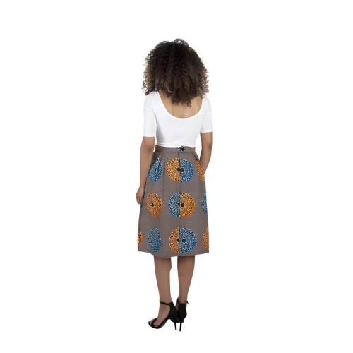 Starburst African Print Pleated Skirt Image