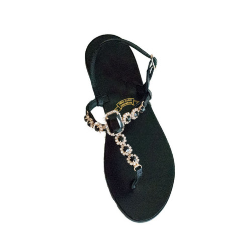 Black Leather Slippers with Diamante Image