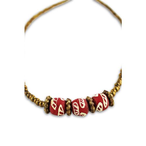 Terracotta Krobo & Brass Bead Necklace Image