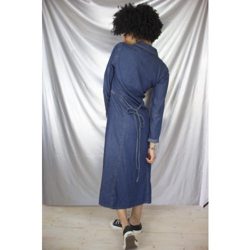 Long Button-Up Denim Dress Image