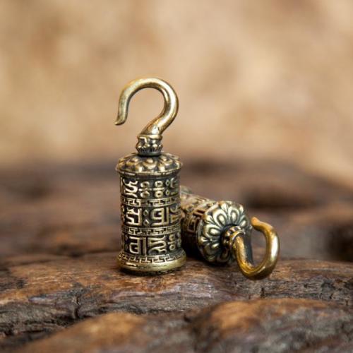 Brass Prayer Wheel Mini-Ear Weight Image