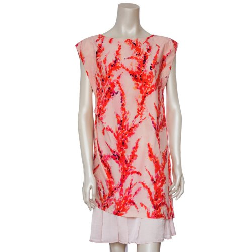 bias hem cotton print dress Image