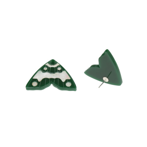 Moth Inlay Studs / Forrest Green with White Pearl Image