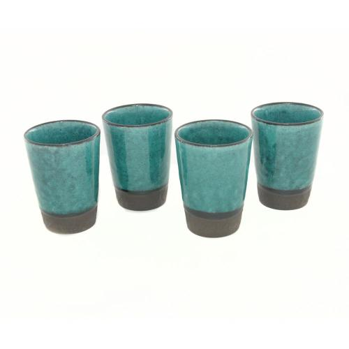 Set of Four Turquoise Japanese Teacups Image