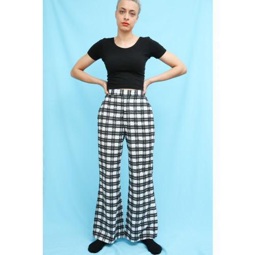 70s Vintage Black & White Check Flared Trousers Image