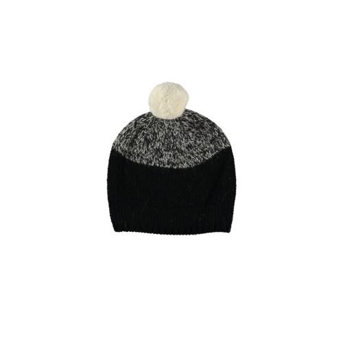 Black Marl Virgin Wool Two-Tone Bobble Hat by Lowie Image