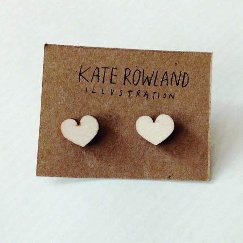 Wooden Heart Earrings Image