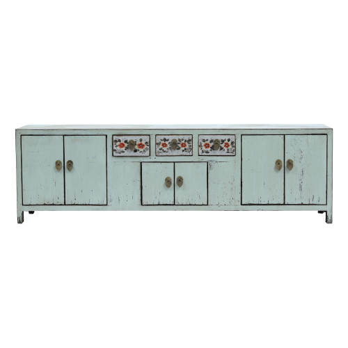 Light Blue Low Sideboard with Red Flowers Image