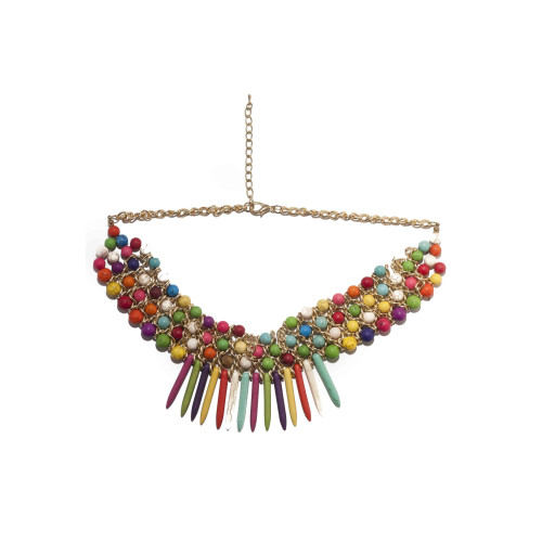 Multi-Coloured Beaded Statement Necklace Image