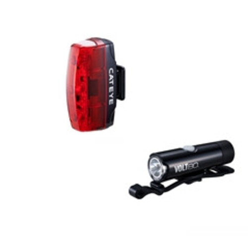 CATEYE VOLT 80 FRONT LIGHT & RAPID MICRO REAR LIGHT USB RECHARGEABLE LIGHT SET Image