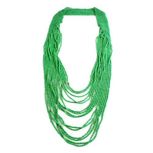 Beaded Cascade Necklace / Green Image