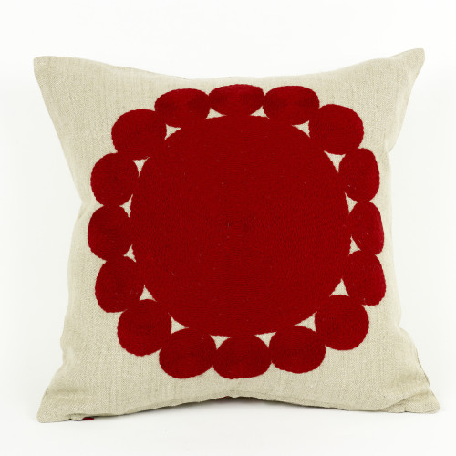 Big & Little Circles - Red, Natural Linen Image