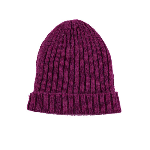 Mohair Ribbed Fisherman's Beanie in Magenta Image