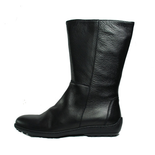 Black leather  Mid- Calf Boots Image
