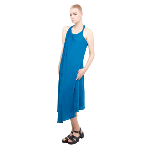Asymmetric sleeveless gown - blue Image