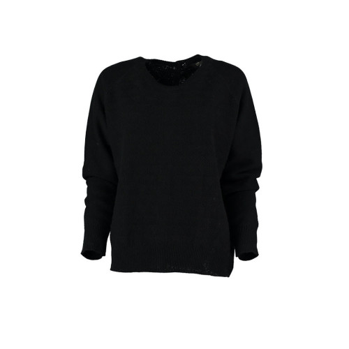 Black Cashmere blend button back reversible sweater by Lowie Image