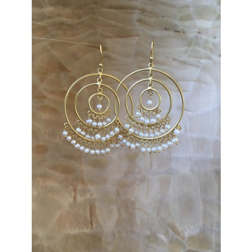 BEAUTIFUL GOLD PLATED BEADED HOOPS Image