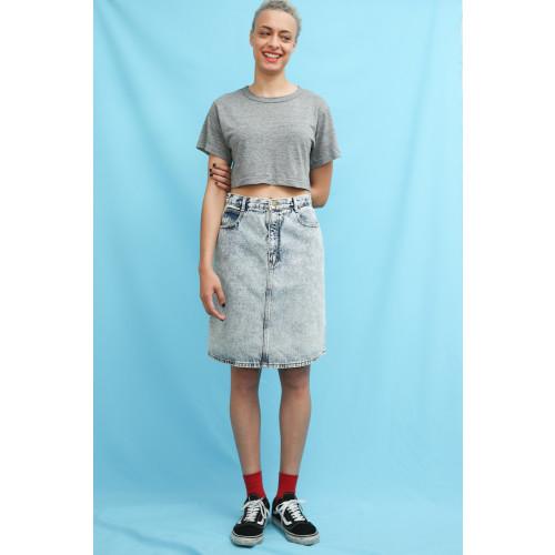 80s 90s Vintage Acid Wash Denim Knee Length Skirt Image