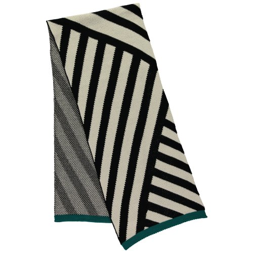 Black and cream stripe scarf by Miss Pompom Image