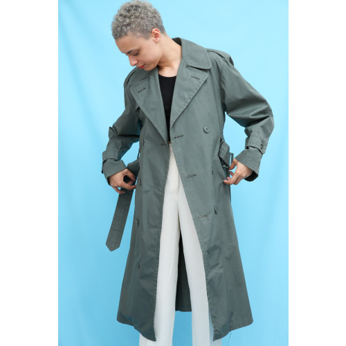 70s Vintage Charcoal Grey Trench Coat Image