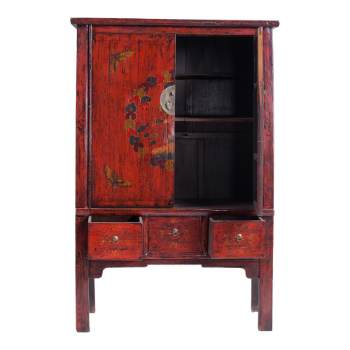 Red Tall Painted Vintage Wardrobe Image