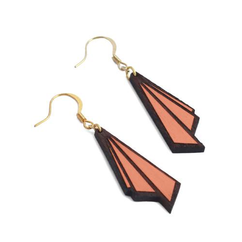 Art Deco Earrings Huitre Drop Salmon Image