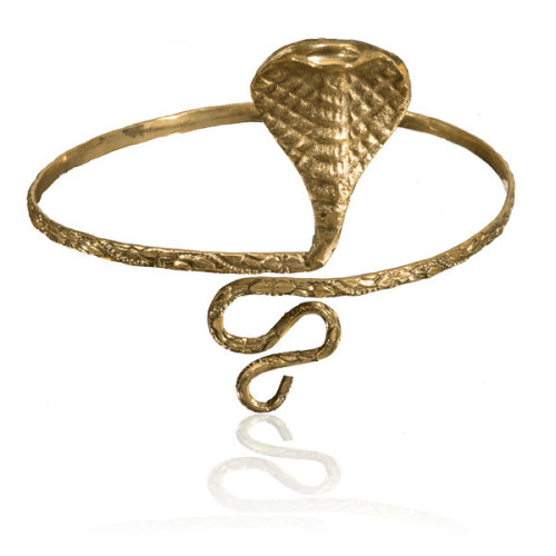 Brass Snake Armlet with Swirling Tail Image