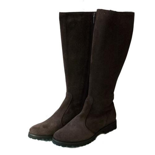Dark Brown Long Suede Boot Image