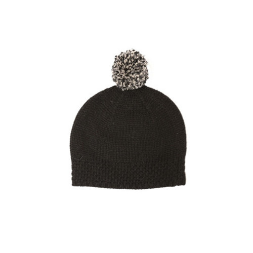 Black Virgin Wool Pom Beanie Bobble Hat by Lowie Image