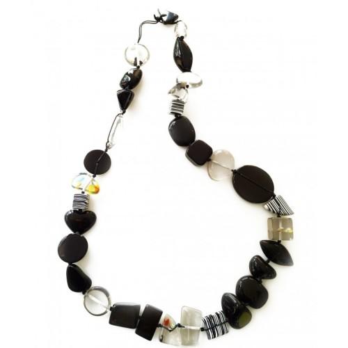 Multi Bead Indiana Necklace Black Long Image