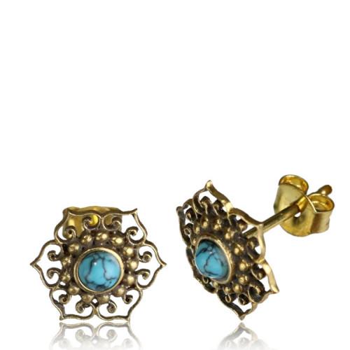 Brass mandala  stud earring with semi precious stone Image