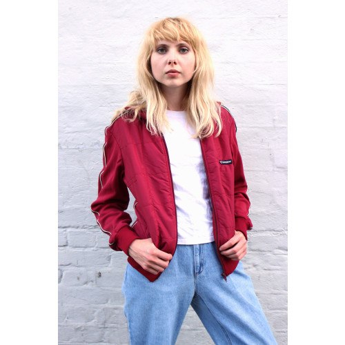 Vintage Burgundy Sports Track Top Image