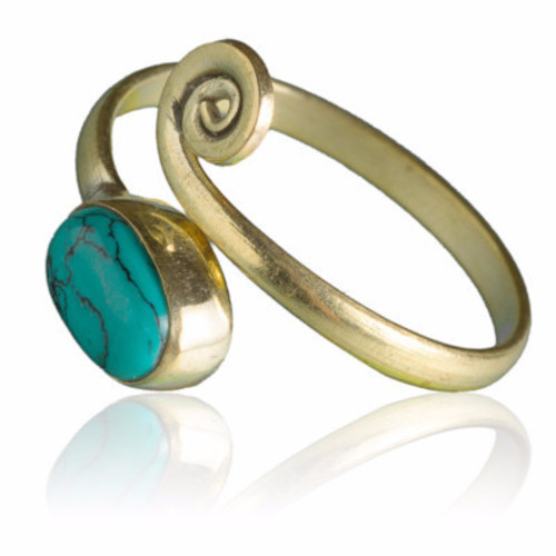 Brass Toe Ring Set With Stones Image