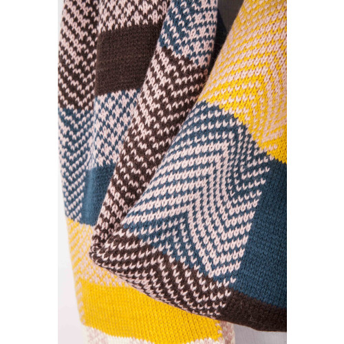 Patterned Grey, Yellow, Navy and Cream Scarf Image