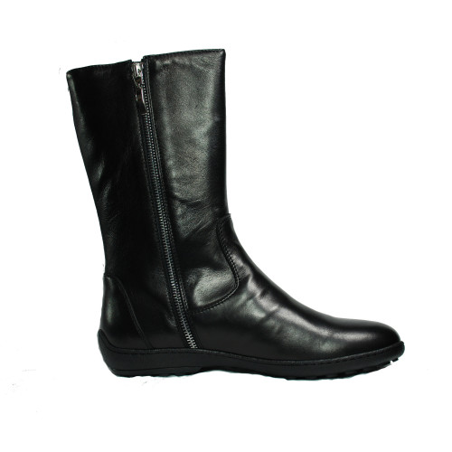 Black leather Boots with Silver Zip Clasp Image