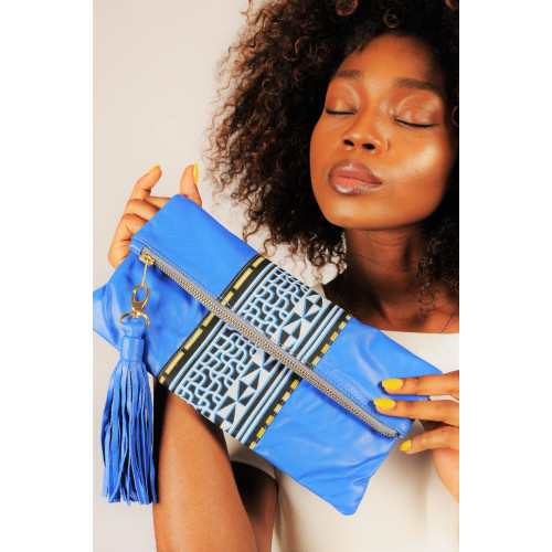 Fold over leather clutch/ pouch with African print detail - Blue Image