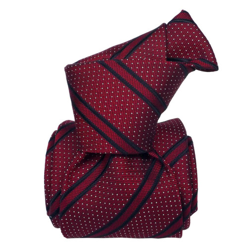 Santamaria Dots Stripes Red Silk Six Fold Handmade Tie Image