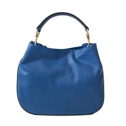 Blue  Leather Hobo Shoulder Bag Image