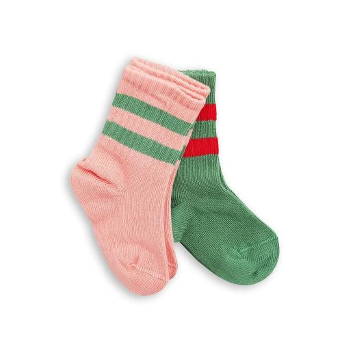 2 Pack stripe socks Pink/Green Image