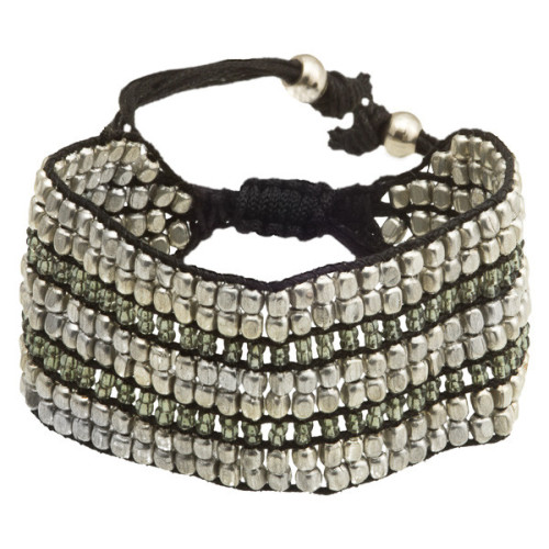 Silver Coated Brass And Black Beads Bracelet Image