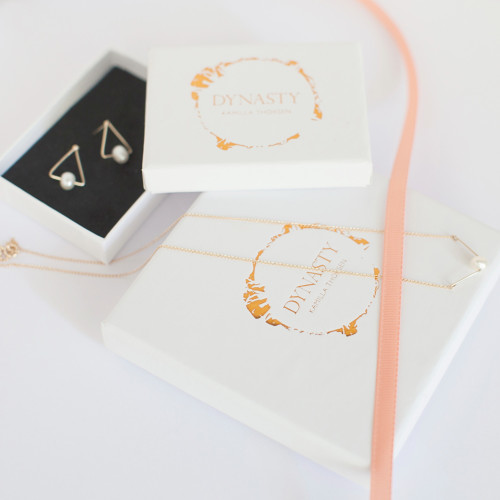 Moth Drop Chain Earrings with Gold Butterfly Image