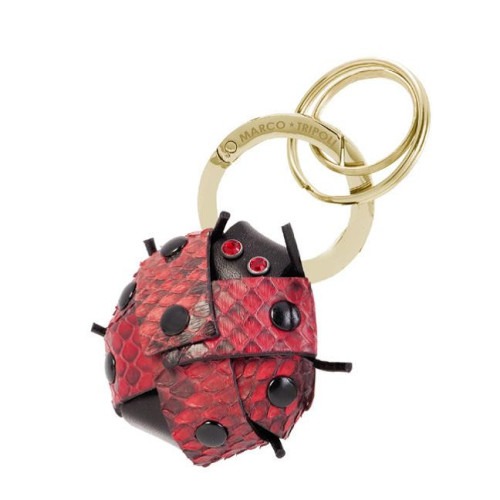Camilla the Ladybird Keyring , in real leather , handmade in Italy Image