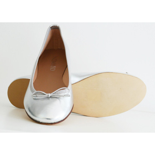 Silver Leather Ballerina Image
