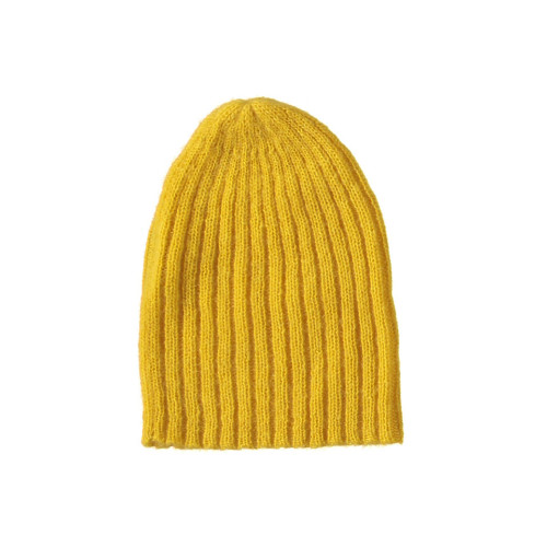 Mohair Ribbed Fisherman's Beanie in Yellow Image