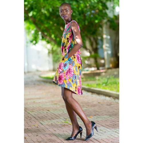 Hi-Low Floral Summer Dress in Two-Tone African Print Image