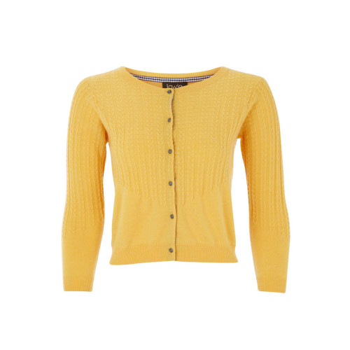 Buttercup Yellow Cashmere Mix cropped Cardigan by Lowie Image